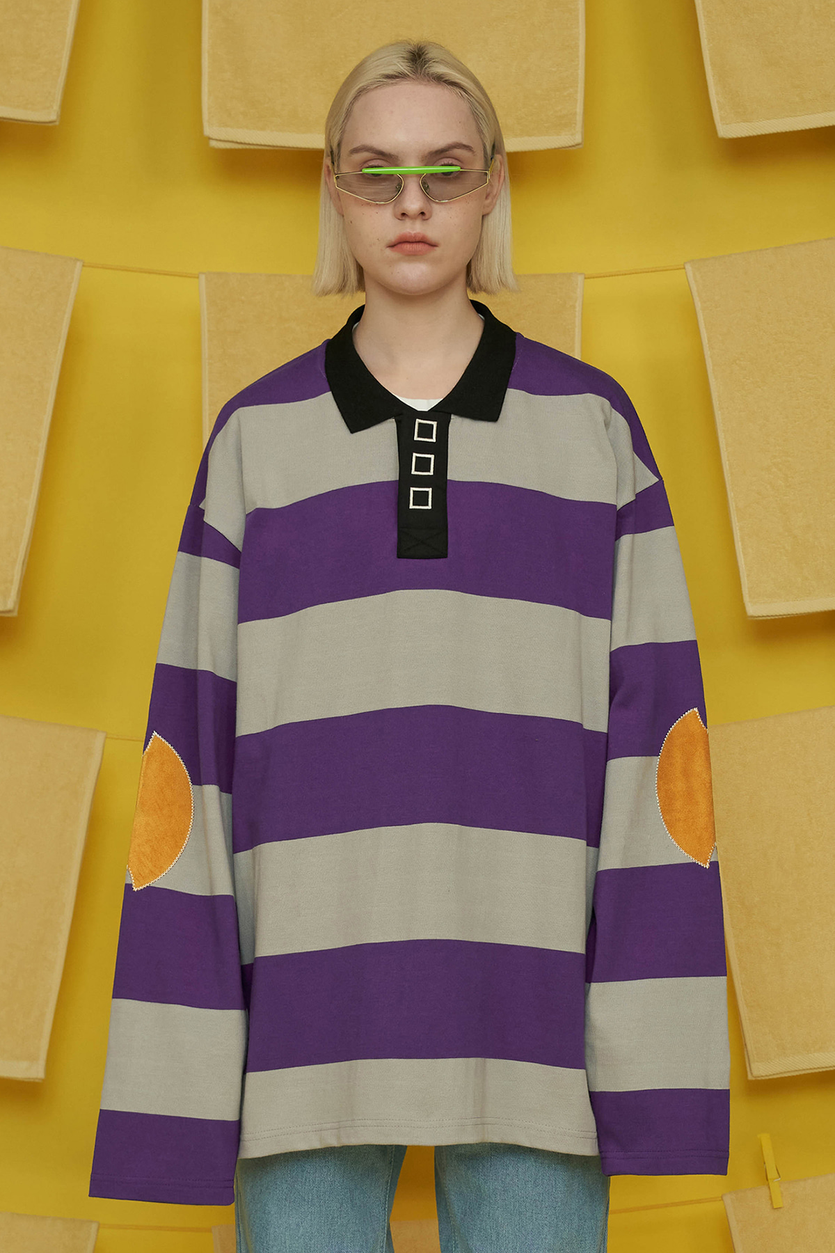 SQUARE STRIPE PK T SHIRT / PURPLE