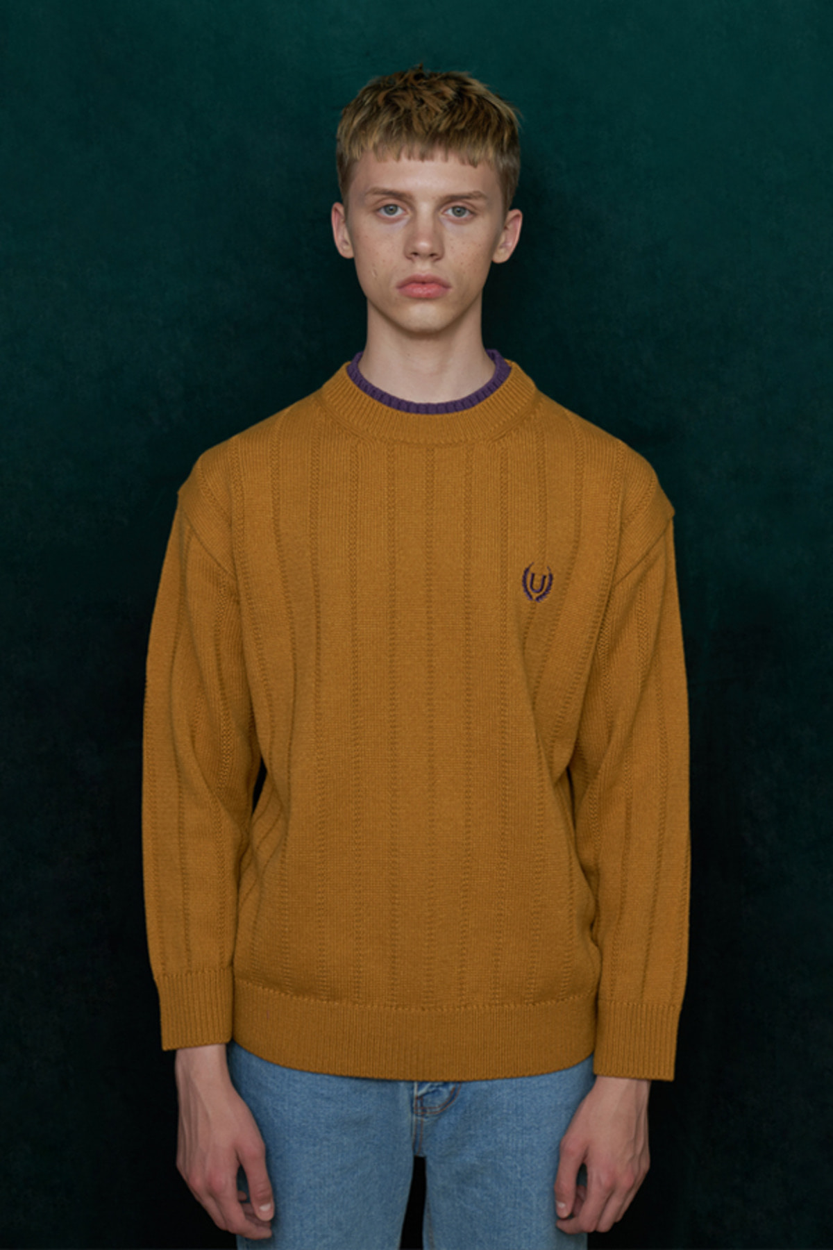 DOUBLE NECK KNIT / MUSTARD