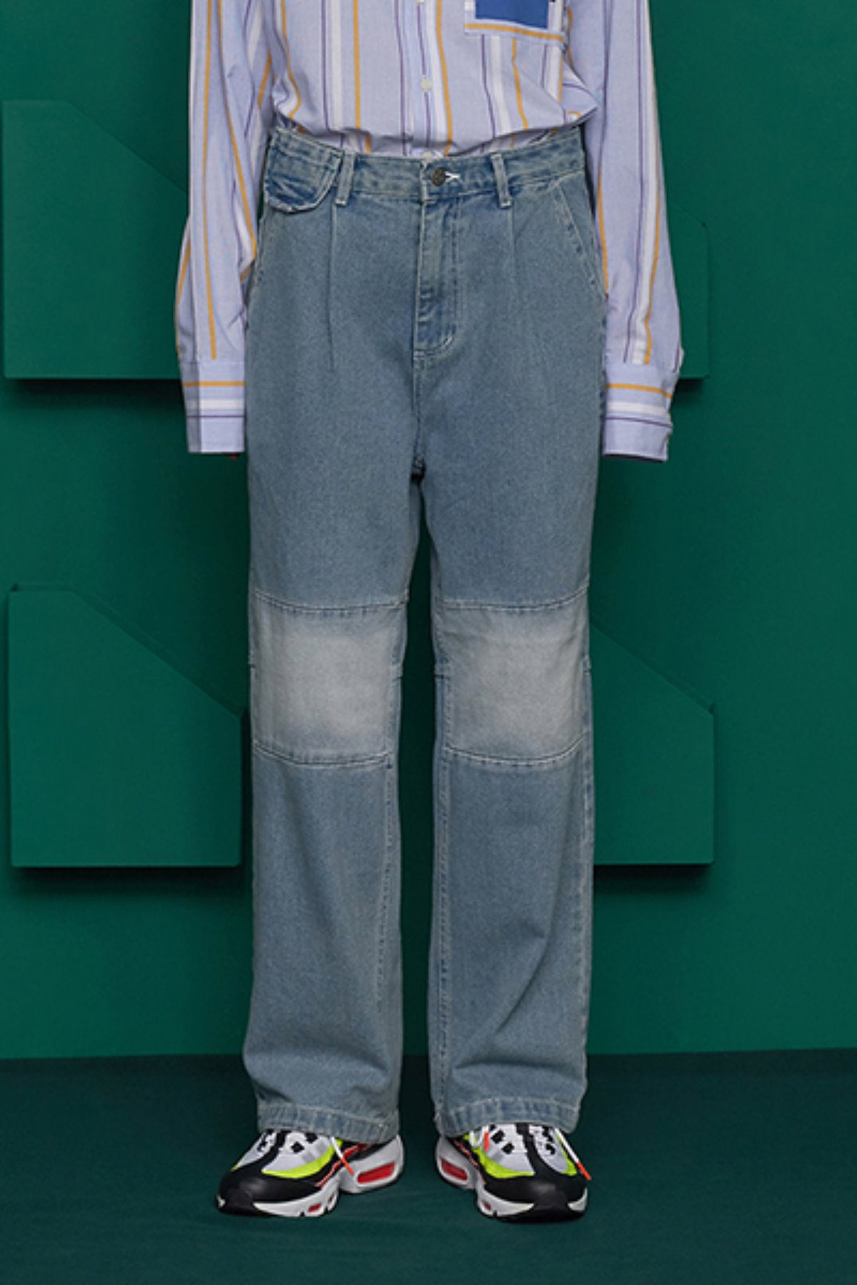 COLOR BLOCK DENIM PANTS / LIGHT BLUE