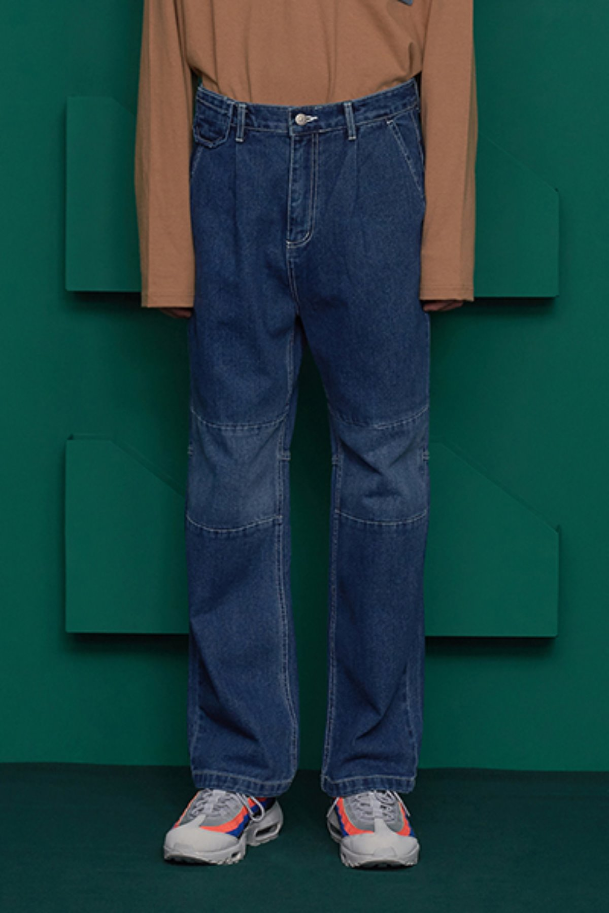 COLOR BLOCK DENIM PANTS / DARK BLUE
