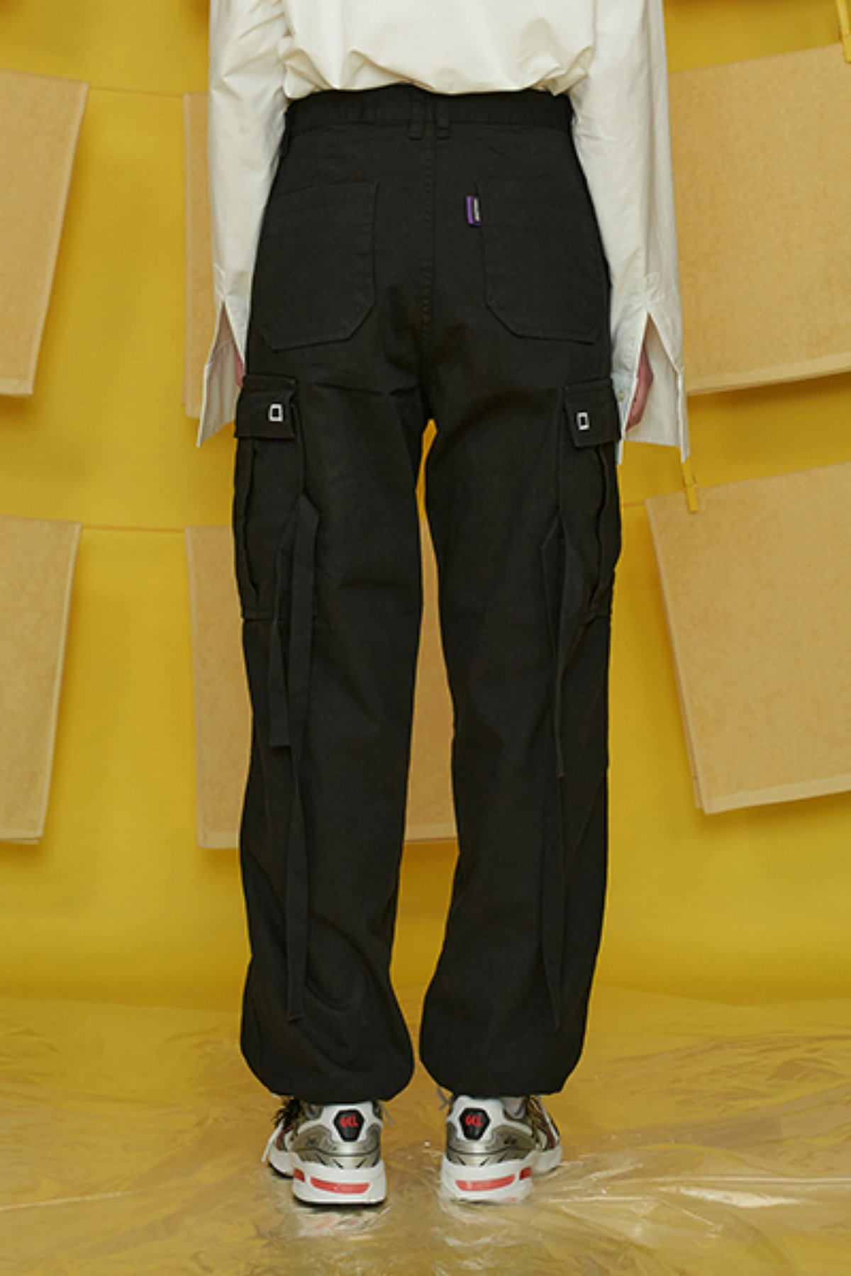 COTTON CARGO PANTS / BLACK