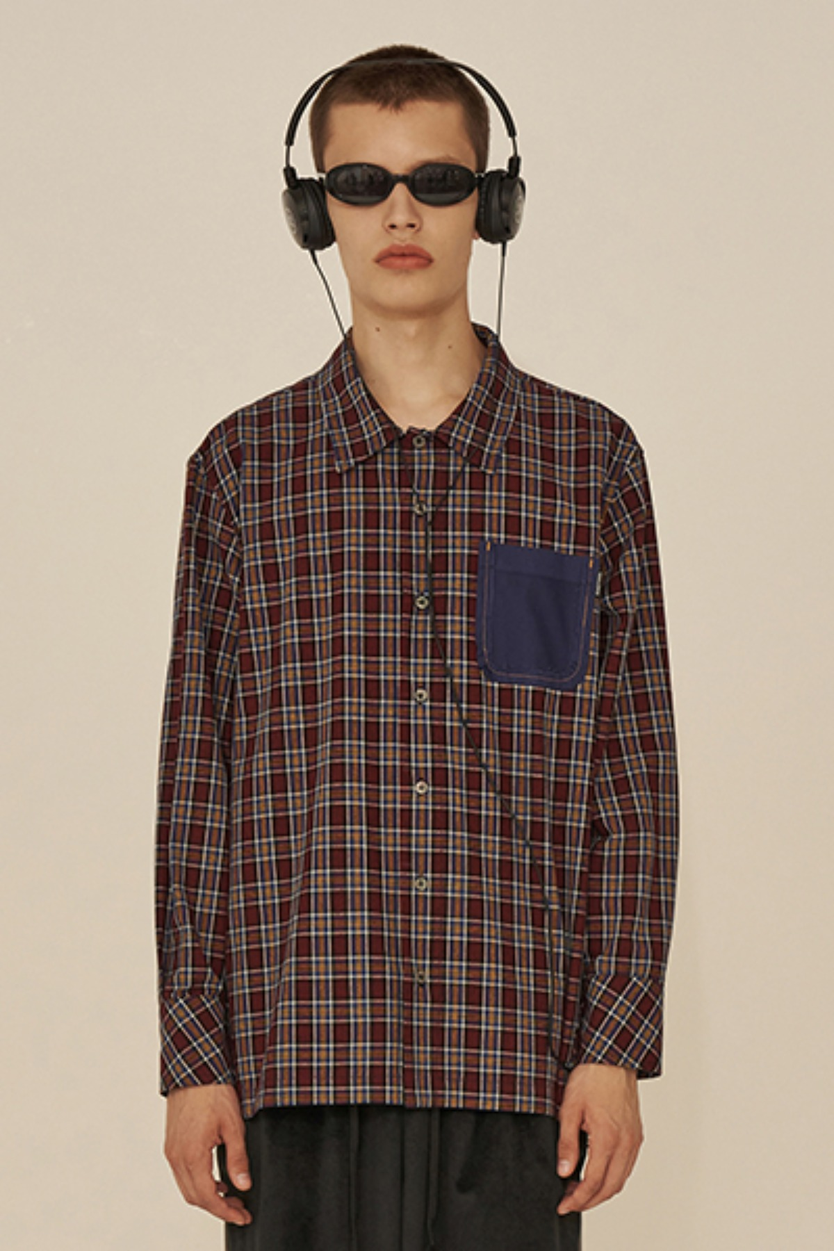 REVERSE POCKET CHECK SHIRT / BURGUNDY