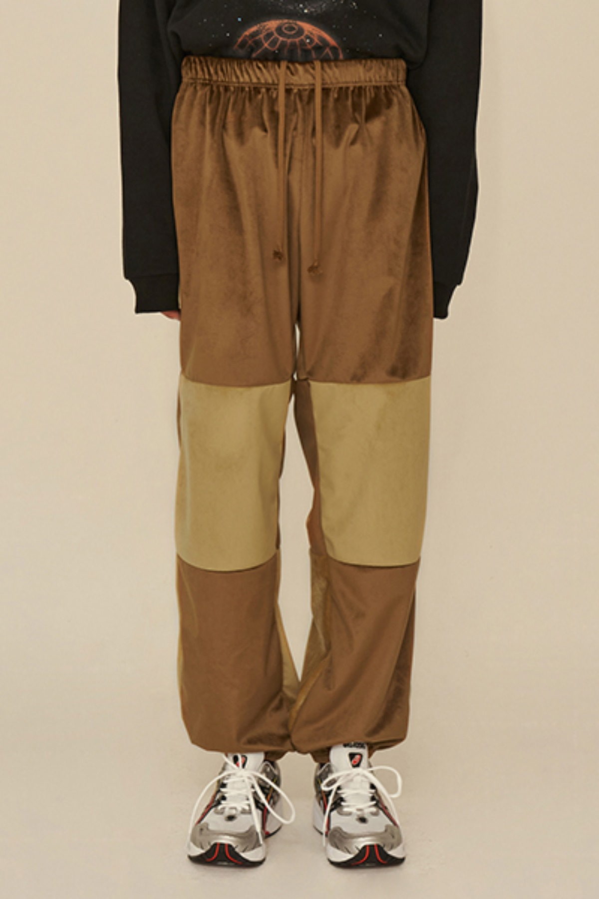 COLOR BLOCK VELVET PANTS / BROWN