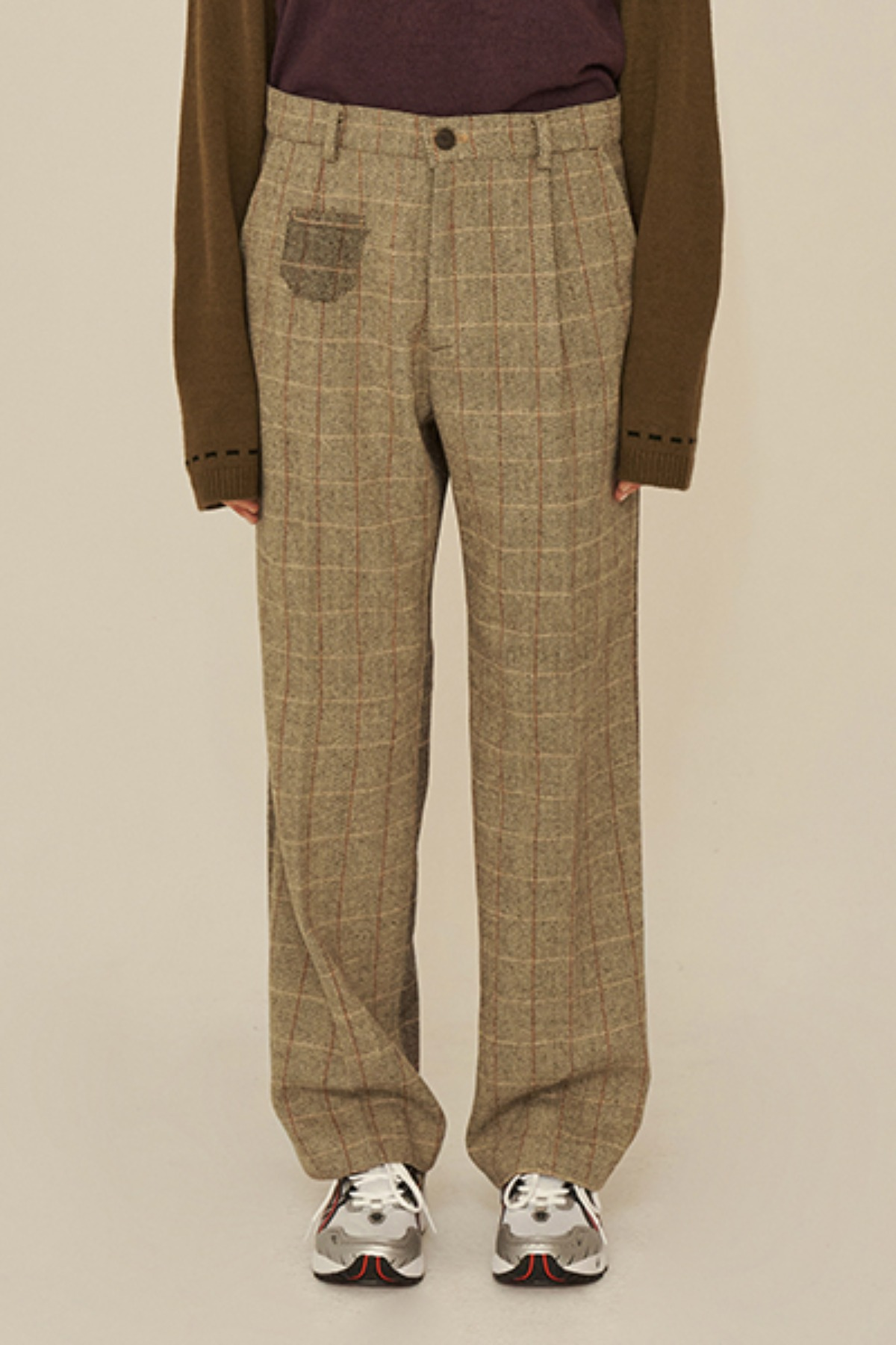 REVERSE CHECK PANTS / BEIGE