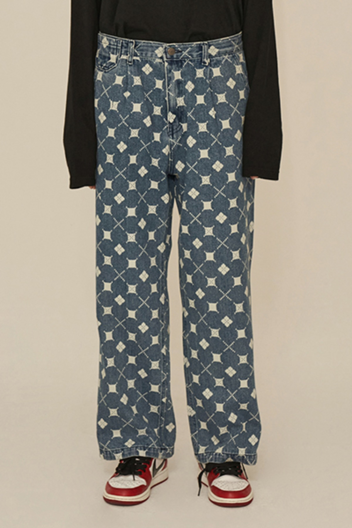 ARGYLE DENIM PANTS / BLUE
