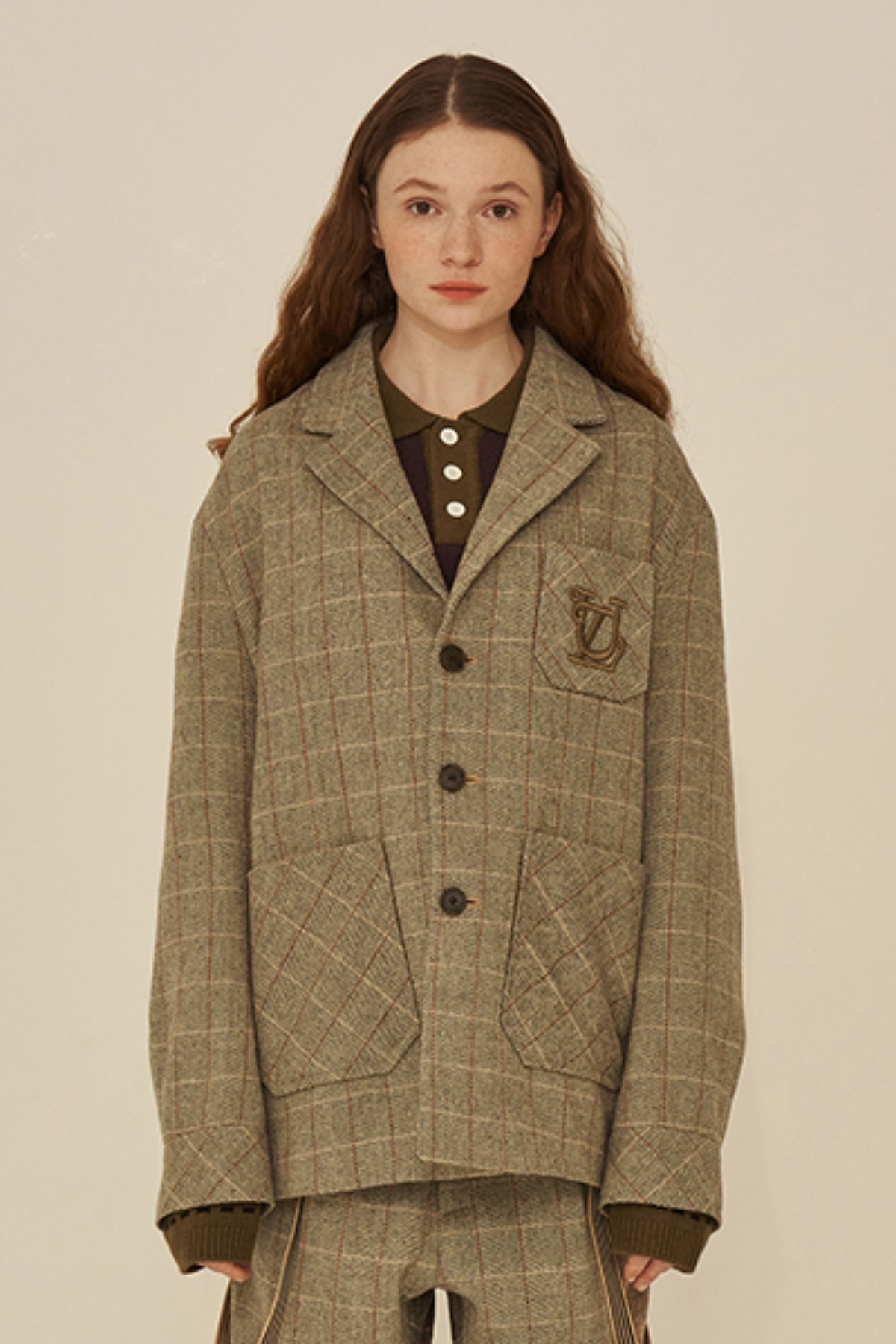 MONOGRAM CHECK JACKET / BEIGE